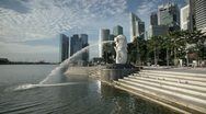 Stock Video Footage of The Merlion Statue with the City Skyline, Singapore