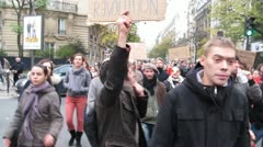 Occupy, France, Movement, Demonstration, March to La Defense, Paris Stock Footage