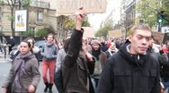 Stock Video Footage of Occupy, France, Movement, Demonstration, March to La Defense, Paris