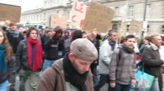 Occupy France Movement Demonstration March to La Defense, Paris Stock Footage