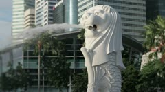 The Merlion Statue with the City Skyline, Singapore Stock Footage