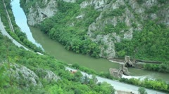 Old 20th century Dam and Sićevo Canyon _2 Stock Footage