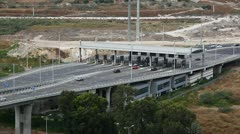 Toll booth Checkpost intersection Haifa Israel time lapse Stock Footage