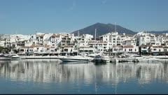 Luxury yachts in the marina of Puerto Banus, Marbella, Spain Stock Footage
