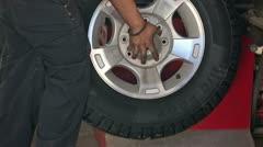 Mechanic spin balance heavy truck tire P HD 0022 - stock footage