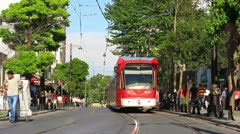 Tramway traffic close to Sultanahmet Stock Footage