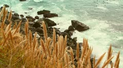 Cliff top view of rocky shoreline on gloomy day - stock footage