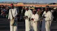 Stock Video Footage of Djemaa el-Fna Square, Street Performers, Morocco, Africa