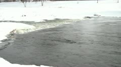 Flowing River in Winter with Danger Stock Footage