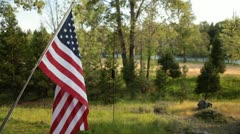 American Flag waves beautiful country background - stock footage