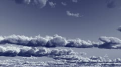 Blue Monochrome Clouds Stock Footage