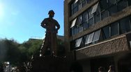 Stock Video Footage of Chile Calama statue miner silhouetted 5