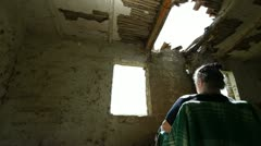 Mature Woman In An Abandoned Paternal House - stock footage
