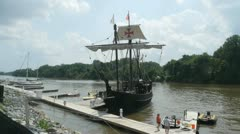 Columbus Ship Pinta in port in Richmond, VA. Sequence Stock Footage
