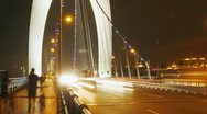 Liede Bridge Traffic at Night - zoom out Stock Footage