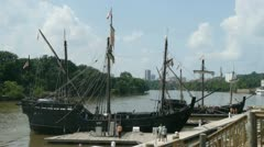 Columbus Ship Nina & Pinta in Port - Sequence Stock Footage