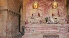 Buddhas inside pagoda in Bagan Stock Footage