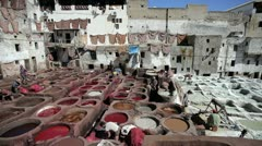 Chouwara Traditional Leather Tannery, Fez, Morocco Stock Footage