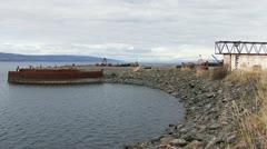 Alaskan Industrial Shipping Harbor Scene Pictorial - stock footage