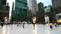 Manhattan, Ice Skating rink in Bryant Park, New York Stock Footage