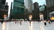 Stock Video Footage of  Manhattan, Ice Skating rink in Bryant Park, New York