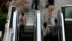 Timelapse of People on outdoor escalator of shopping mall Stock Footage