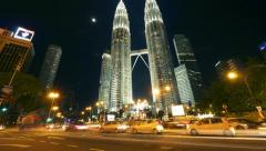 Petronas towers. Timelapse in motion Stock Footage