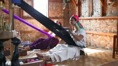 Long neck woman on Inle lake - stock footage
