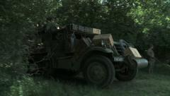 WW2 US Halftrack passing by Stock Footage