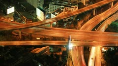 Expressway in the city. Night time lapse Bangkok Thailand Stock Footage