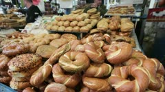 Sesame round bread for sale in the Old City, Israel,  Stock Footage
