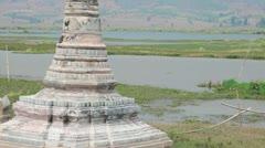 Boat at Takhaung Mwetaw Paya pagoda, Inle lake Stock Footage