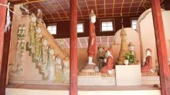 Buddhas in Takhaung Mwetaw Paya pagoda, Inle lake Stock Footage