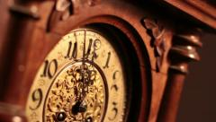 Old wooden clock Stock Footage