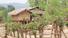 Samkar village, Myanmar Stock Footage