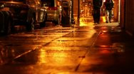 Downtown Oakland, Chinatown on a Rainy Night Stock Footage