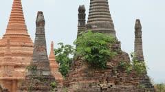 Pagoda in Samkar village, Myanmar Stock Footage