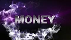 MONEY Text in Particle (Double Version) Blue - HD1080 Stock Footage