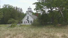 Old Lighthouse on Mission Point in Upper Michigan Stock Footage