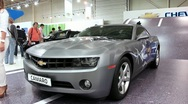 Stock Video Footage of Chevrolet Camaro at yearly automotive-show SIA 2012 in Kiev, Ukraine