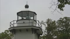 Lighthouse on Mission Point, closeup with People Stock Footage