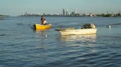 Argentinian fishermen on Parana river Stock Footage