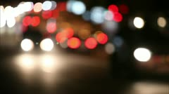 Night traffic in the city, defocus 3 Stock Footage