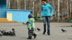 Young mother with a child chasing pigeons in the park Stock Footage