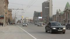 Heavy traffic on the main street in Novosibirsk, Russia Stock Footage