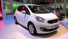 KIA Venga at yearly automotive-show SIA 2012 in Kiev, Ukraine Stock Footage