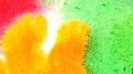 Multi-coloured spot, watercolour abstract hand painted background Stock Footage