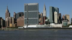 Chrysler Building and the United Nations building, New York - stock footage