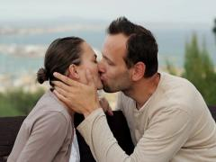 Happy couple in love kissing NTSC Stock Footage
