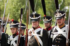 borodino battle re-enactment - stock photo